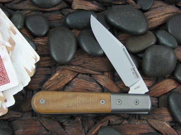 Lion Steel Shuffler Clip Jack Natural Canvas Micarta Handles M390 Steel  CK0112 | CollectorKnives