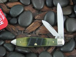 Case Knives Teardrop with Olive Green Bone handles 62028