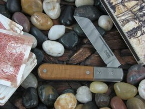 Lion Steel Sheepfoot Jack with Damasteel Super Dense Bolsters Natural Canvas Micarta handles CK0115