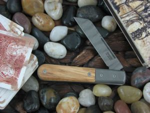 Lion Steel Sheepfoot Jack with Damasteel Super Dense Bolsters Olive Wood handles CK0115