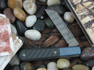 lionSteel Sheepfoot Jack with Blue Anodized Titanium Bolsters Carbon Fiber handles CK0115