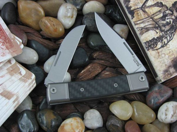 lionSteel BestMan Two Blade Jack Titanium Bolsters Carbon Fiber Handles  M390 Steel BM13 | CollectorKnives