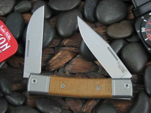 lionSteel Two Blade Jack with Titanium Bolsters Natural Canvas Micarta handles BM13