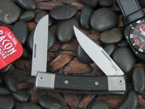 lionSteel Two Blade Jack with Titanium Bolsters Ebony Wood handles BM13