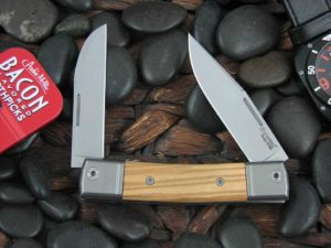 lionSteel Two Blade Jack with Titanium Bolsters Olive Wood handles BM13