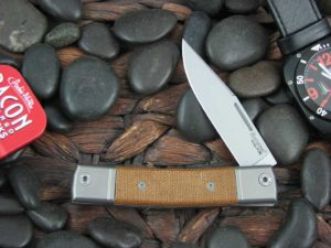 lionSteel One Blade Jack with Titanium Bolsters Natural Canvas Micarta handles BM1