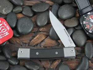 lionSteel One Blade Jack with Titanium Bolsters Ebony Wood handles BM1