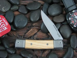 lionSteel One Blade Jack with Titanium Bolsters Olive Wood handles BM1