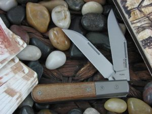 lionSteel Barlow with Titanium Bolsters Natural Canvas Micarta handles CK0122