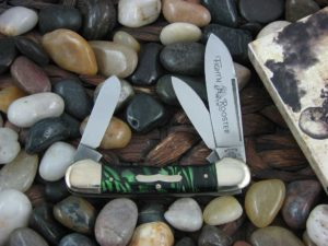 Fight'n Rooster Canoe Green Black handles Frank Buster Celebrated Cutlery