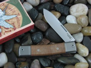 lionSteel One Blade Jack with Titanium Bolsters Natural Canvas Micarta handles BM2