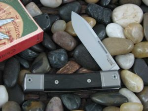 lionSteel Spear Jack with Titanium Bolsters Ebony Wood handles BM2