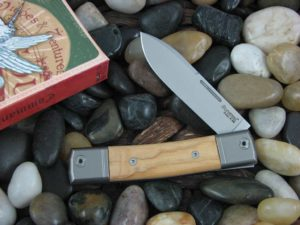 lionSteel Spear Jack with Titanium Bolsters Olive Wood handles BM2