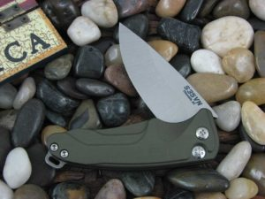 Medford Smooth Criminal Tumbled Standard Blade Green Aluminum Handle