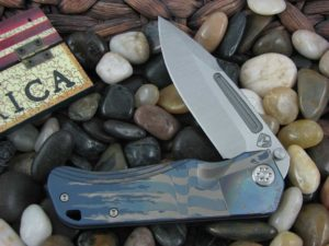 Medford Proxima Tumbled Standard Blade Blue Ano Ti Tattered Flag Handle