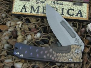 Medford Slim Midi Tumbled Drop Point Blade Bronze Violet Ti Handle