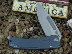 Medford Slim Midi Tumbled Drop Point Blade Blue Ano Ti Handle