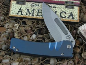 Medford Midi Marauder Tumbled Drop Point Blade Blue Ano Ti Handle