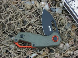 MKM Fox Voxnaes Clip Isonzo Linerlock Green FRN Slabs Black Idroglider Coated N690 Steel MKFX03-3PGO