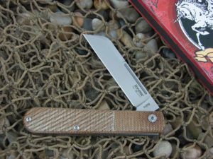 lionSteel Sheepfoot Jack with Oblique Natural Canvas Micarta handles CKS0115NCO