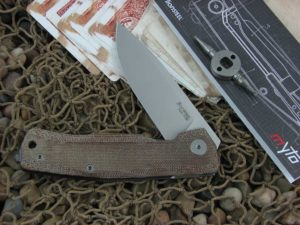 lionSteel Cutlery MYTO with Natural Canvas Micarta handles MT01CVN