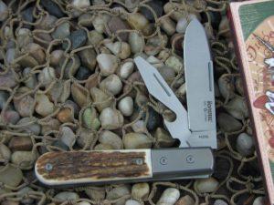 lionSteel Beerlow Barlow Titanium Bolsters Stag Handles M390 Steel CK0118ST