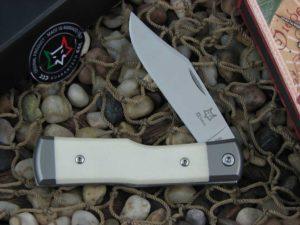 Fox Cutlery Gunstock with Titanium Bolsters Bone Micarta handles FXCK01BOM